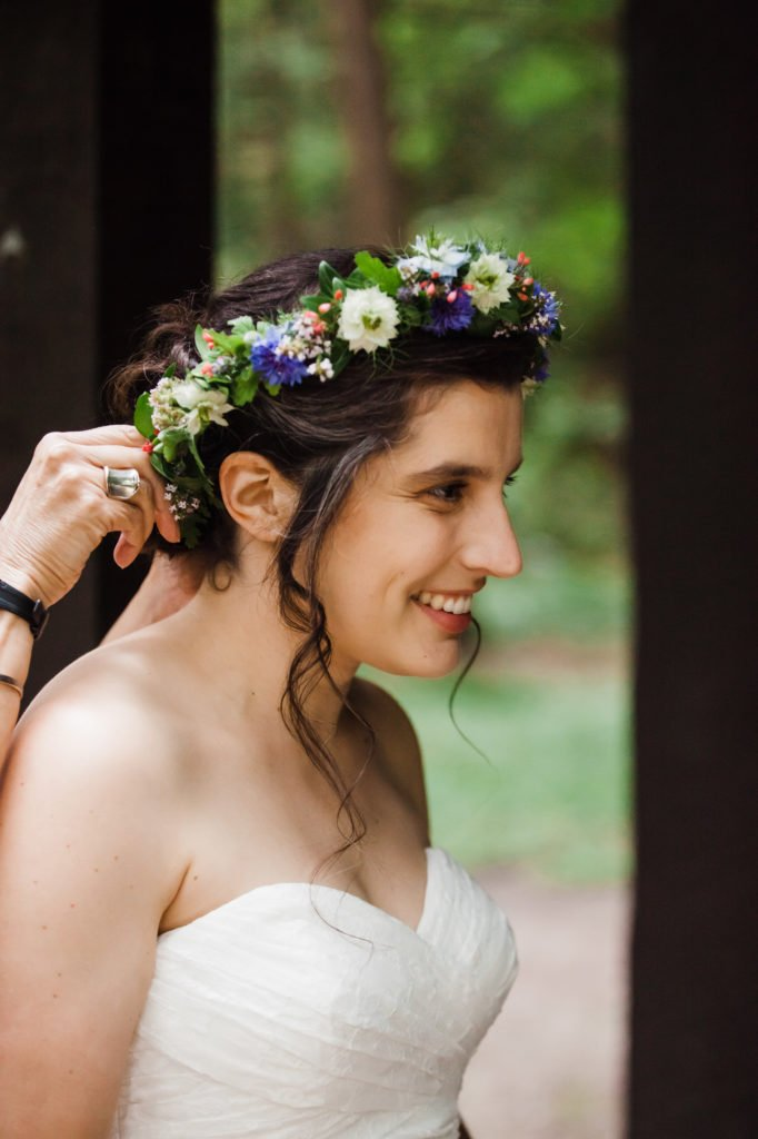 Flower Crown by Take Your Pick Flower Farm, Treman State Park Wedding at North Pavilion, Treman State Park Cabins, Treman State Park Rim Trail, and Treman State Park Gorge Trail in Ithaca, NY
